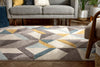 Otto Modern Geometric Boxes & Triangles Gold Blue Distressed High-Low Rug