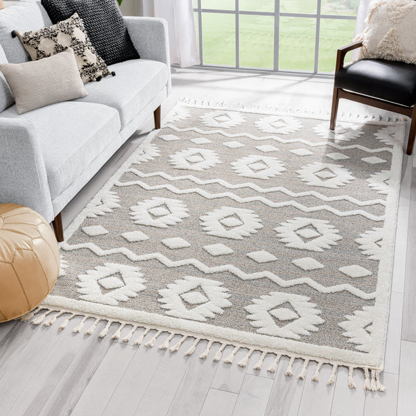 Addison Tribal Moroccan Diamond Pattern Beige High-Low Textured Rug
