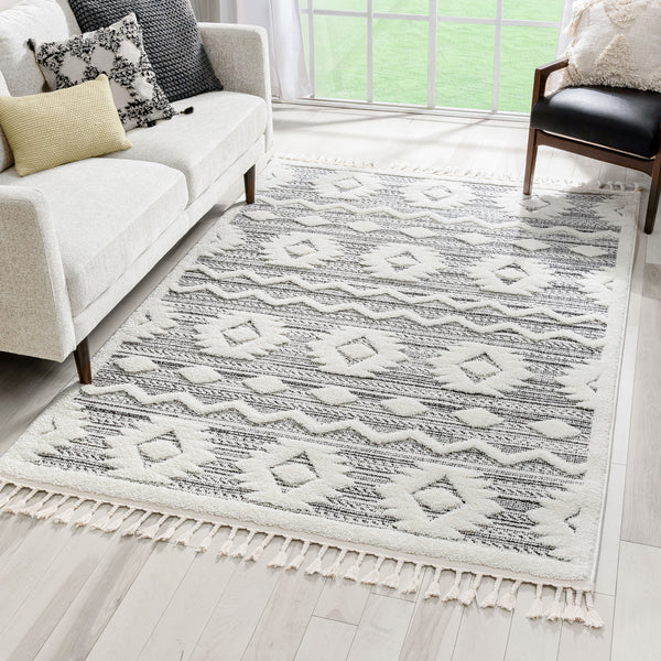 Addison Tribal Moroccan Diamond Pattern Blue High-Low Textured Rug