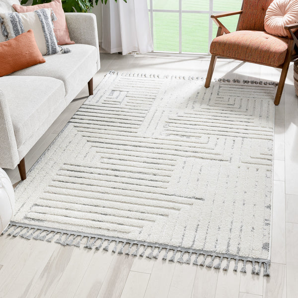 Gianna Modern Geometric Stripes Cream Grey High-Low Textured Rug