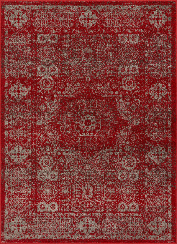 Millie Red Vintage Traditional Medallion Distressed Rug