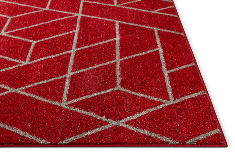 Tume Red Modern Tiled Geometric Rug