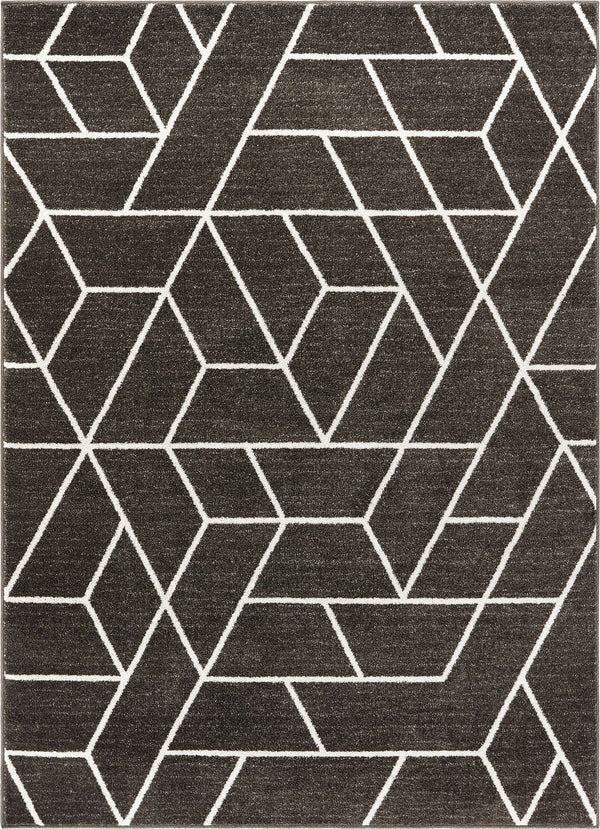 Tume Grey Modern Tiled Geometric Rug
