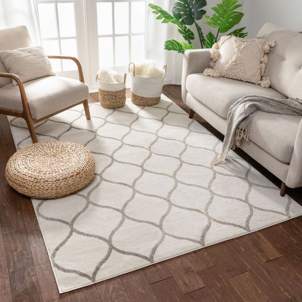Ramon Ivory Moroccan Lattice Ogee Rug