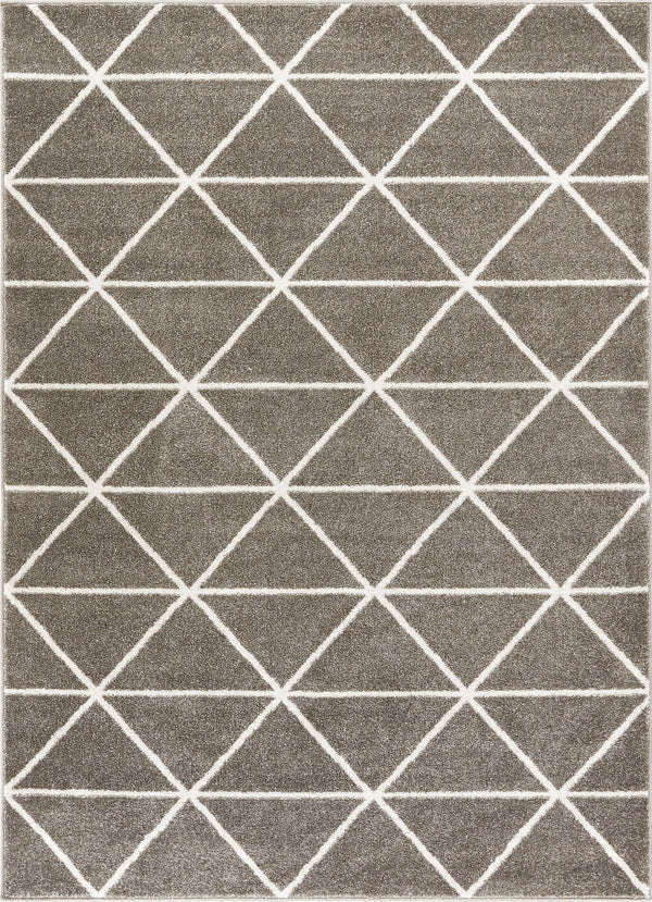 Dulce Grey Modern Geometric Triangles Rug