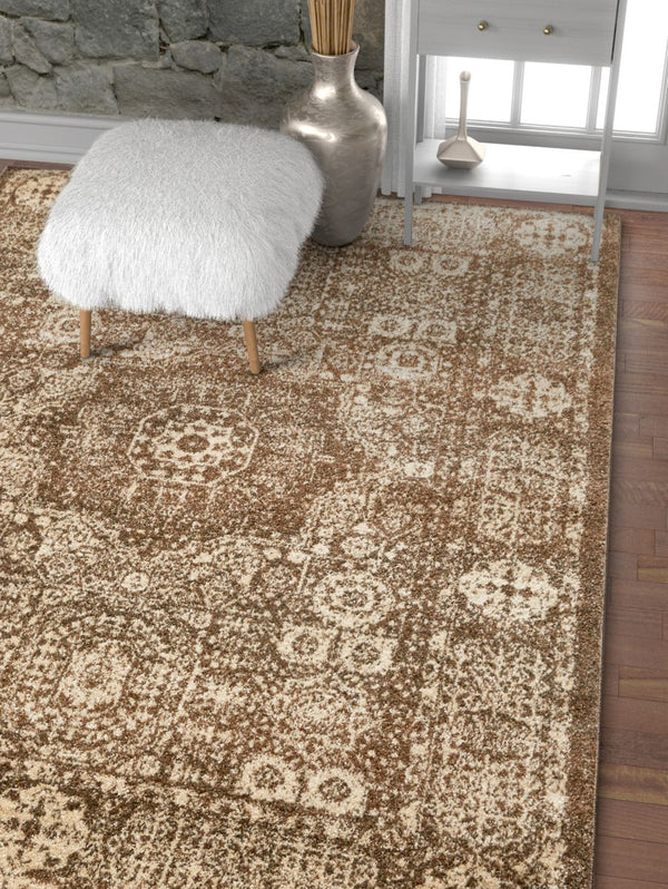 Millie Brown Vintage Traditional Medallion Distressed Rug