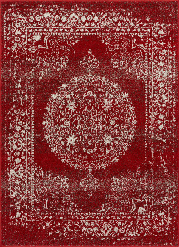 Mora Red Traditional Vintage Persian Distressed Rug