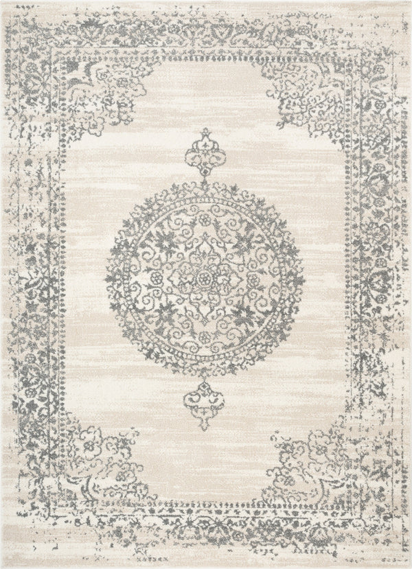 Mora Ivory Traditional Vintage Persian Distressed Rug