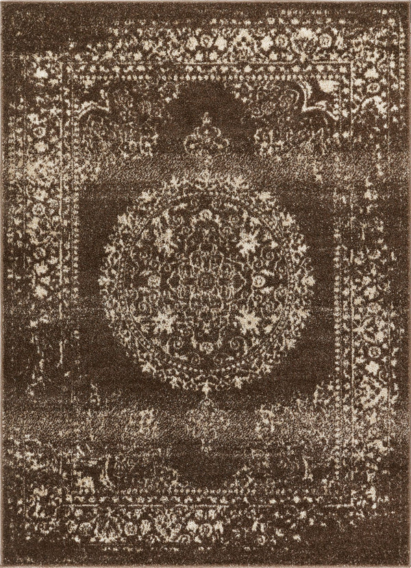 Mora Brown Traditional Vintage Persian Distressed Rug