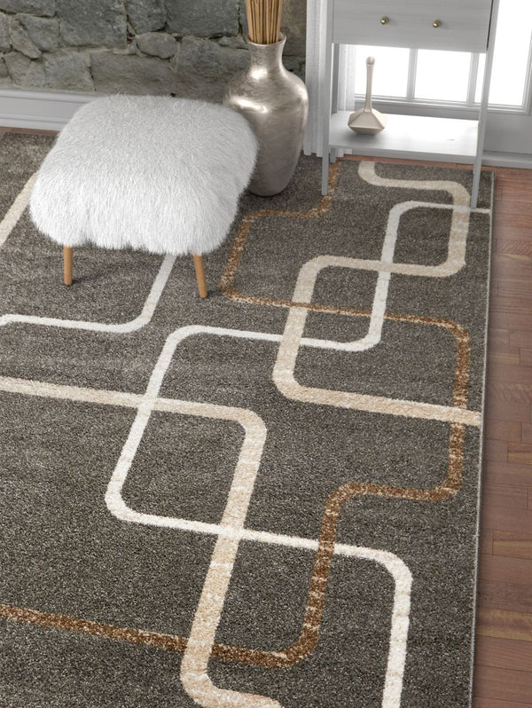 Juillet Charcoal Modern Geometric Solid Lines Rug