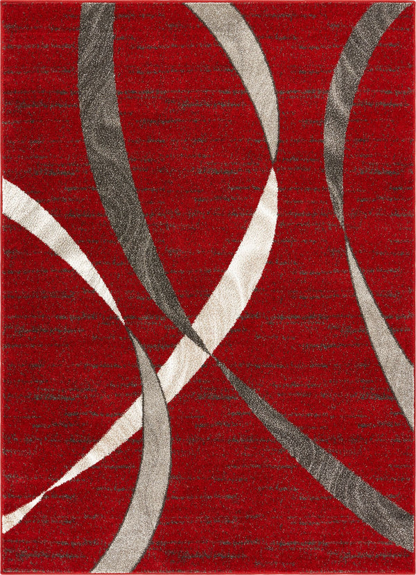 "Felicita Red Modern Abstract 5'3"" x 7'3"" Area Rug"