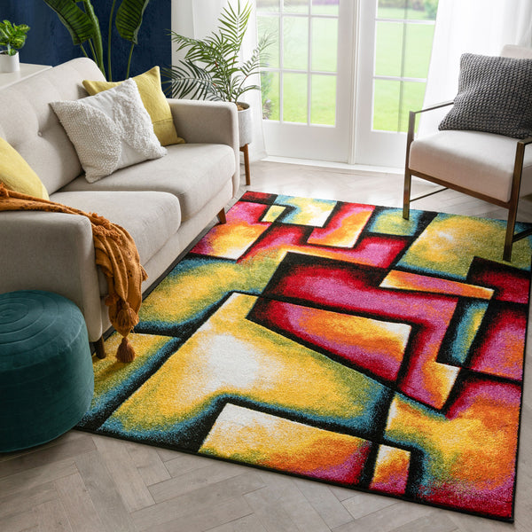 Fortune Contemporary Abstract Geometric Boxes Multi Hand-Carved Rug