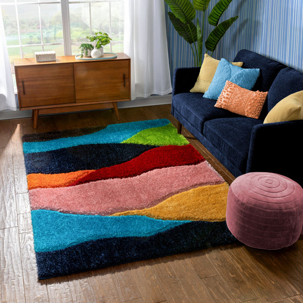Balboa Modern Abstract Shag Multi 3D Textured Thick & Soft Shag Rug