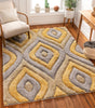 Malibu Yellow Modern 3D Textured Shag Rug By Chill Rugs