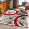 Oahu Red Modern Geometric 3D Textured Shag Rug