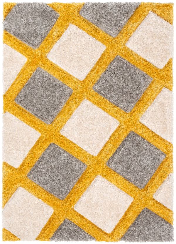 Posh Yellow Modern Geometric 3D Textured Shag Rug By Chill Rugs