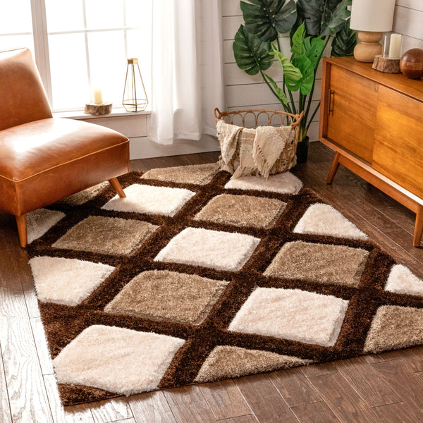 Posh Brown Modern Geometric 3D Textured Shag Rug By Chill Rugs