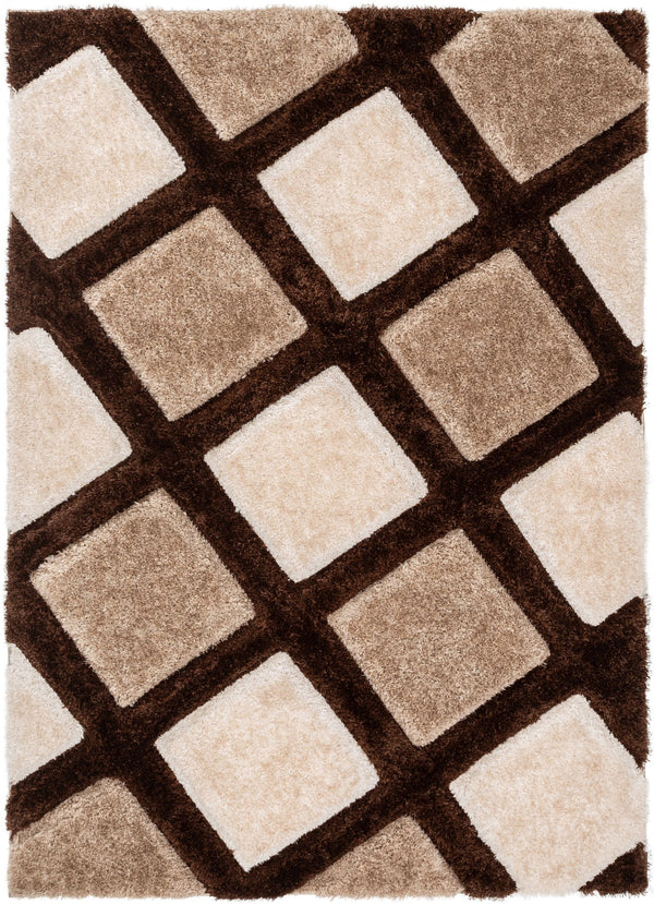 Posh Brown Modern Geometric 3D Textured Shag Rug