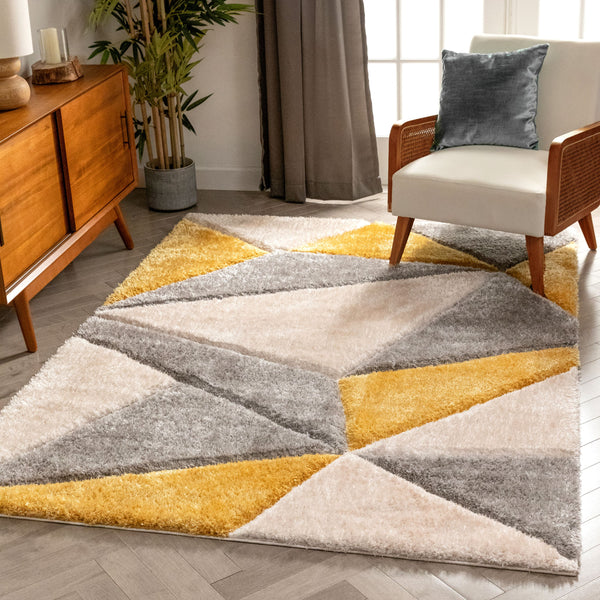 Venice Yellow Modern Geometric 3D Textured Shag Rug By Chill Rugs