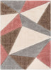 Venice Modern Geometric Triangle Pattern Shag Grey Blush 3D Textured Thick & Soft Shag Rug