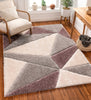 Venice Purple Modern Geometric 3D Textured Shag Rug By Chill Rugs