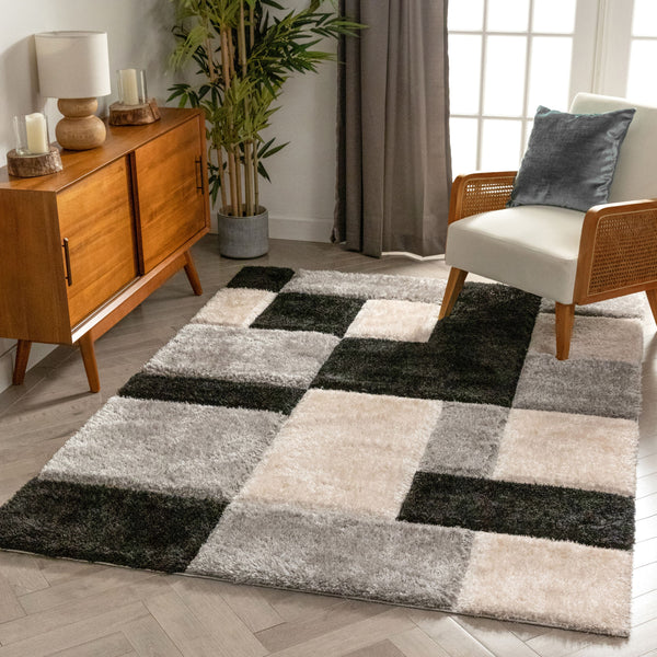 Escondido Black Modern Geometric 3D Textured Shag Rug