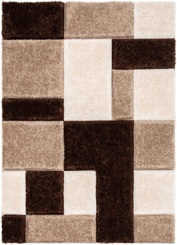 Escondido Brown Modern Geometric 3D Textured Shag Rug