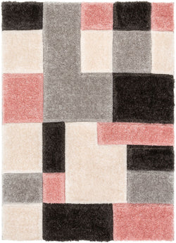 Escondido Blush Modern Geometric 3D Textured Shag Rug