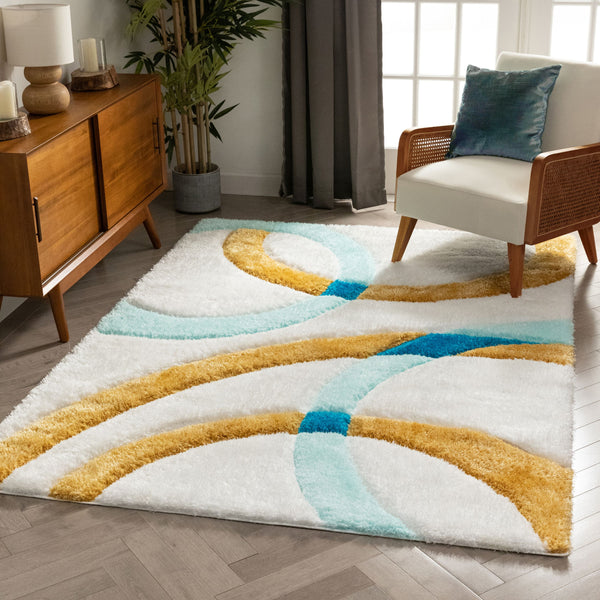 Bevel Blue Modern Geometric 3D Textured Shag Rug