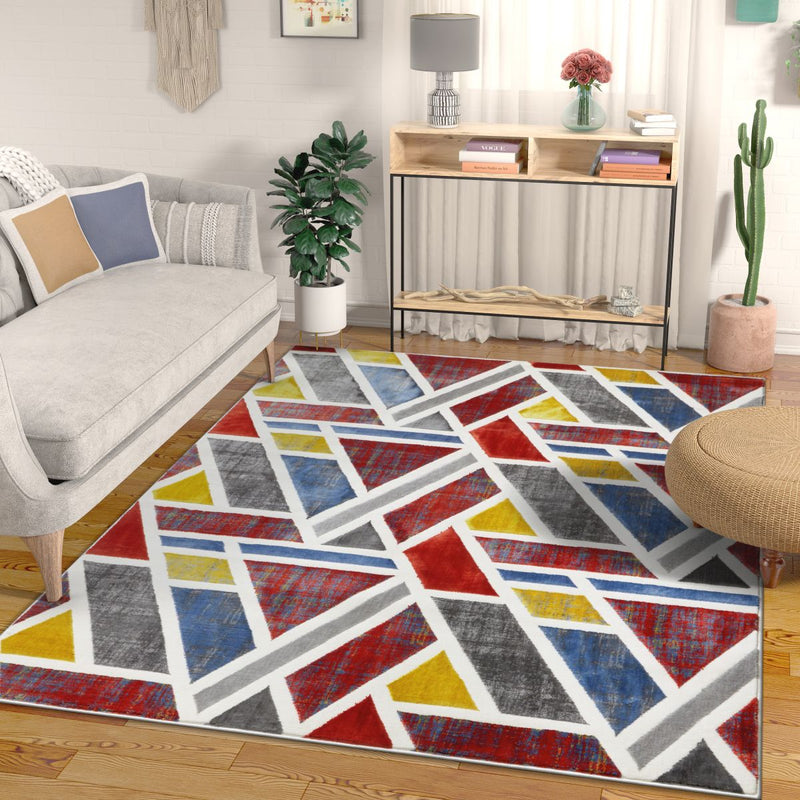 Courage Multi Geometric Modern Rug
