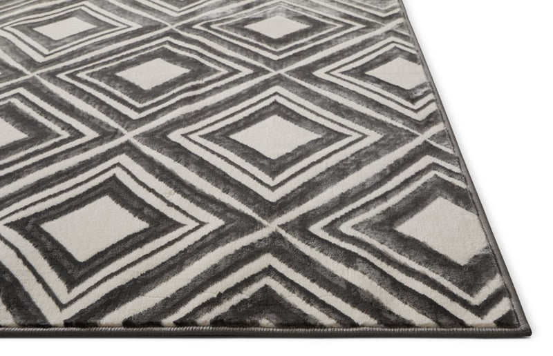 Lovely Squares Grey Modern Geometric Rug