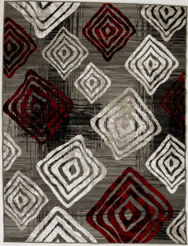 "Sample Sale Grey White Red 5'3"" x 7'5"" SS-0244 Rug"