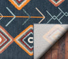Sena Blue Mid-Century Tribal Diamond Rug