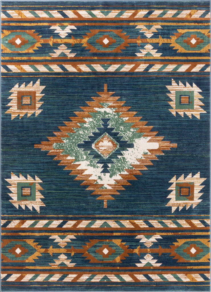 Lea Blue Traditional Southwestern Tribal Rug Well Woven