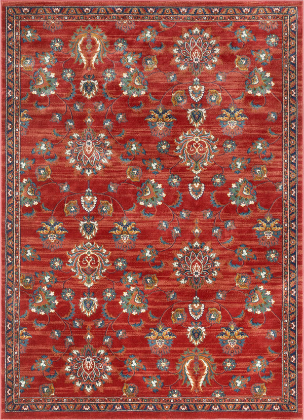 Arya Crimson Traditional Oriental Distressed Rug