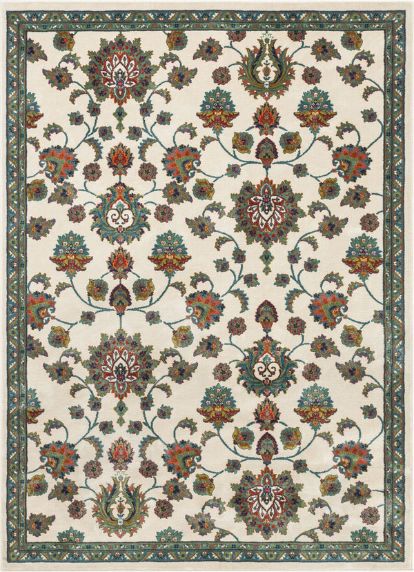 Arya Ivory Traditional Oriental Distressed Rug