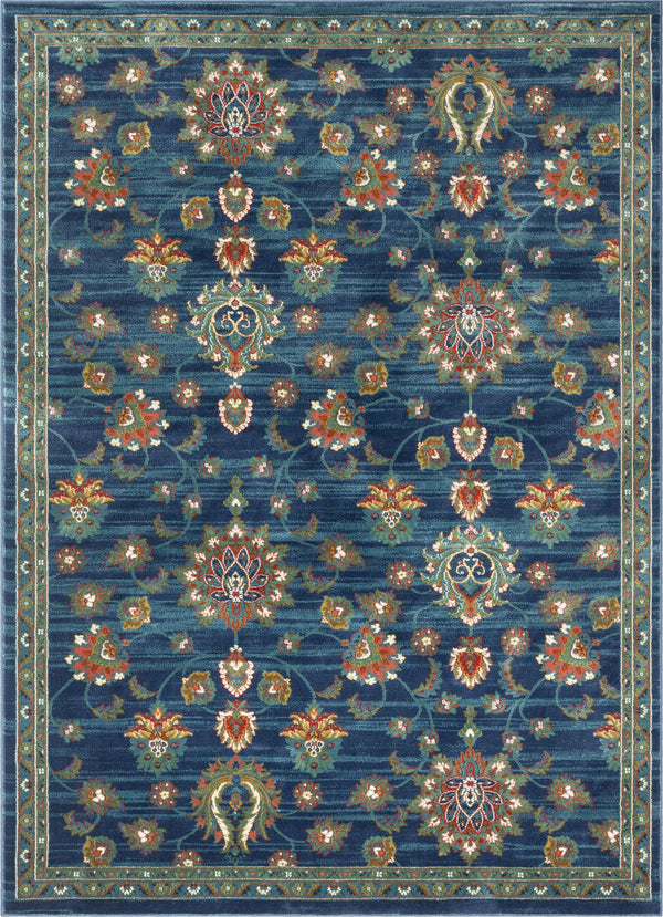 Arya Blue Traditional Oriental Distressed Rug