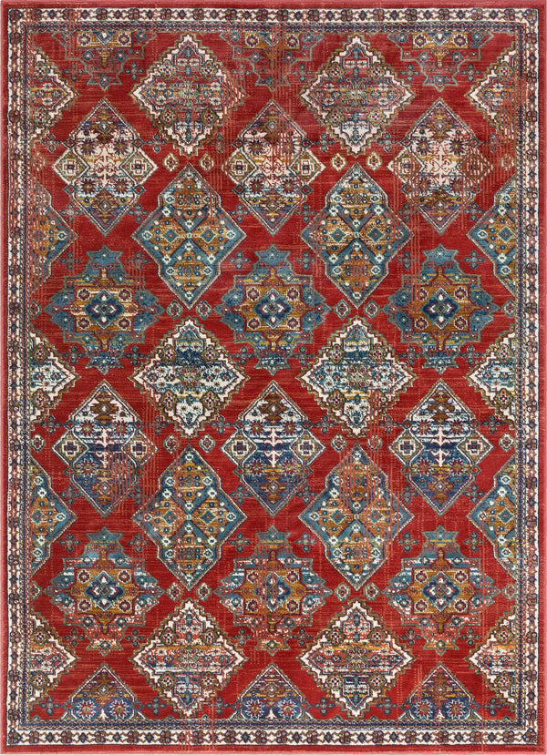 Chahna Crimson Traditional Panel Rug