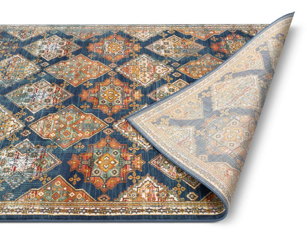 Chahna Blue Traditional Panel Rug