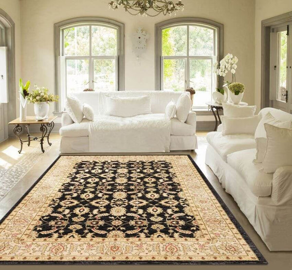 "Seljuk Black Traditional Rug 7'10"" x 9'10"""