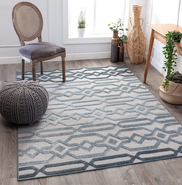 Emila Blue Contemporary Geometric Rug