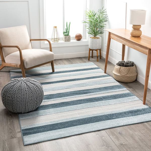 Vesna Blue Contemporary Stripe Rug