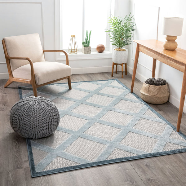 Galena Blue Contemporary Geometric Rug