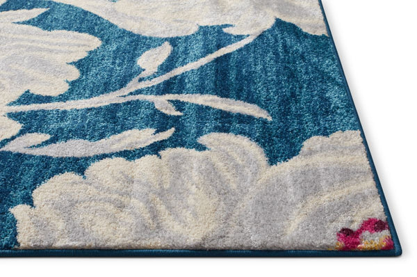 Colombia Blue Modern Flower Rug 20'' x 31''