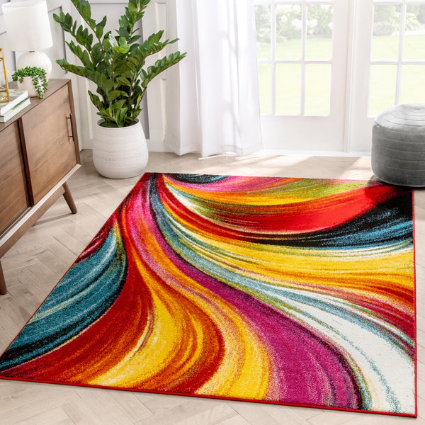 Pleasure Multi Modern Bright Rug