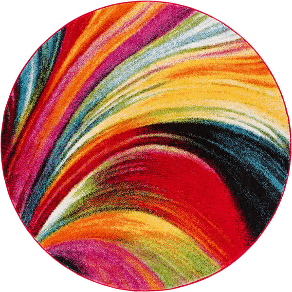 "Pleasure Multi Modern Bright 5'3"" Round Rug"