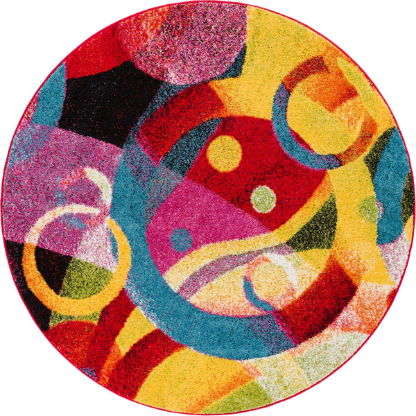 Brilliant Multi Modern Bright Round Rug