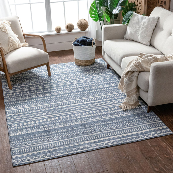 Easton Blue Modern Geometric Rug