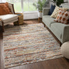 Twilight Abstract Distressed Red-Rust Grey Flatweave High-Low Rug