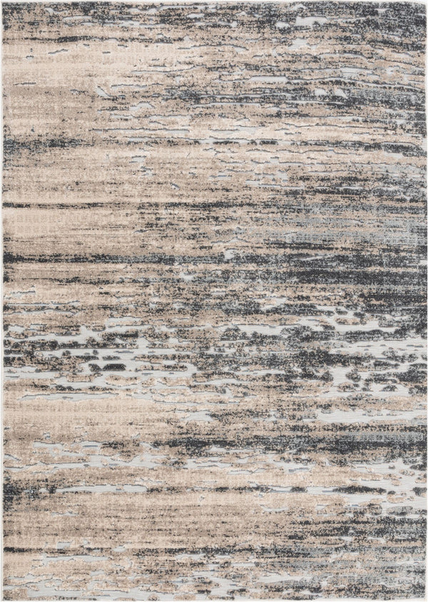 Twilight Abstract Distressed Beige Grey Flatweave High-Low Rug
